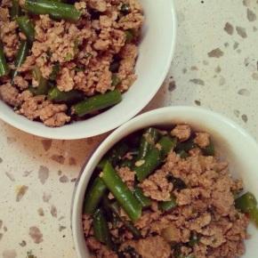 Thai pork mince with greenbeans